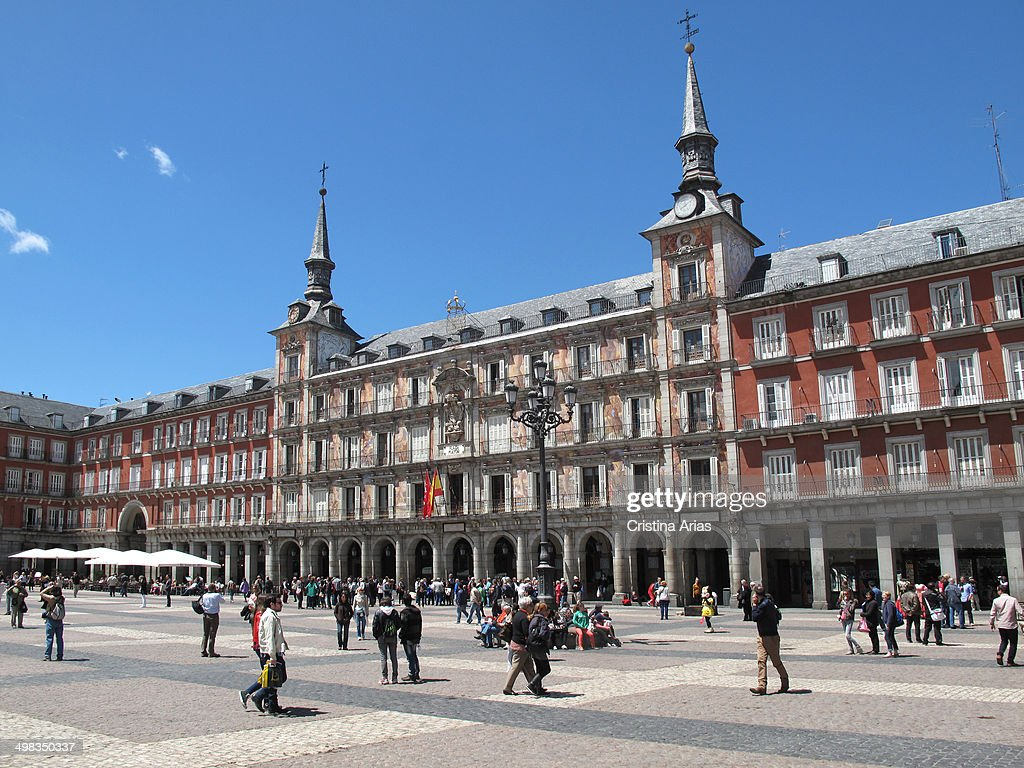 North side of the Plaza Mayor in Madrid and in its center the House Bakery socalled for having housed in its origins the tahona of the villa its...