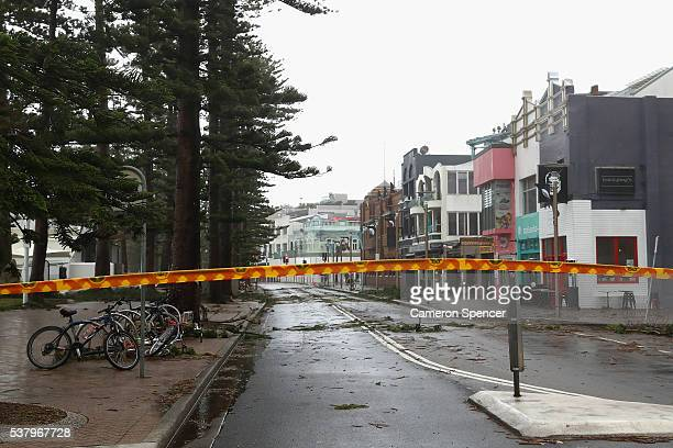 North Steyne is closed due to storm damage at Manly Beach on June 4 2016 in Sydney Australia The Bureau of Meteorology is forecasting up to 300mm of...
