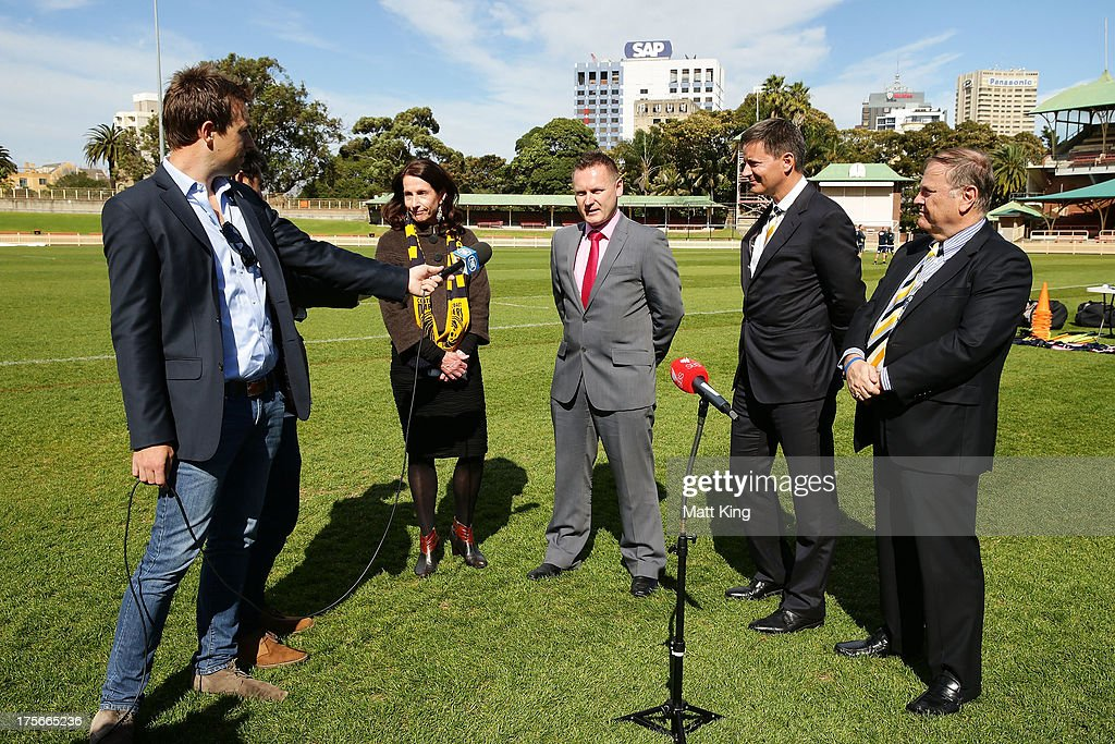 North Sydney Mayor Jilly Gibson, A-League CEO Damien De Bohun, Central Coast Mariners owner Mike Charlesworth and Central Coast Mariners Chairman & Group General Manager Peter Turnbull speak to the media during a Central Coast Mariners A-League media announcement at North Sydney Oval on August 6, 2013 in Sydney, Australia.