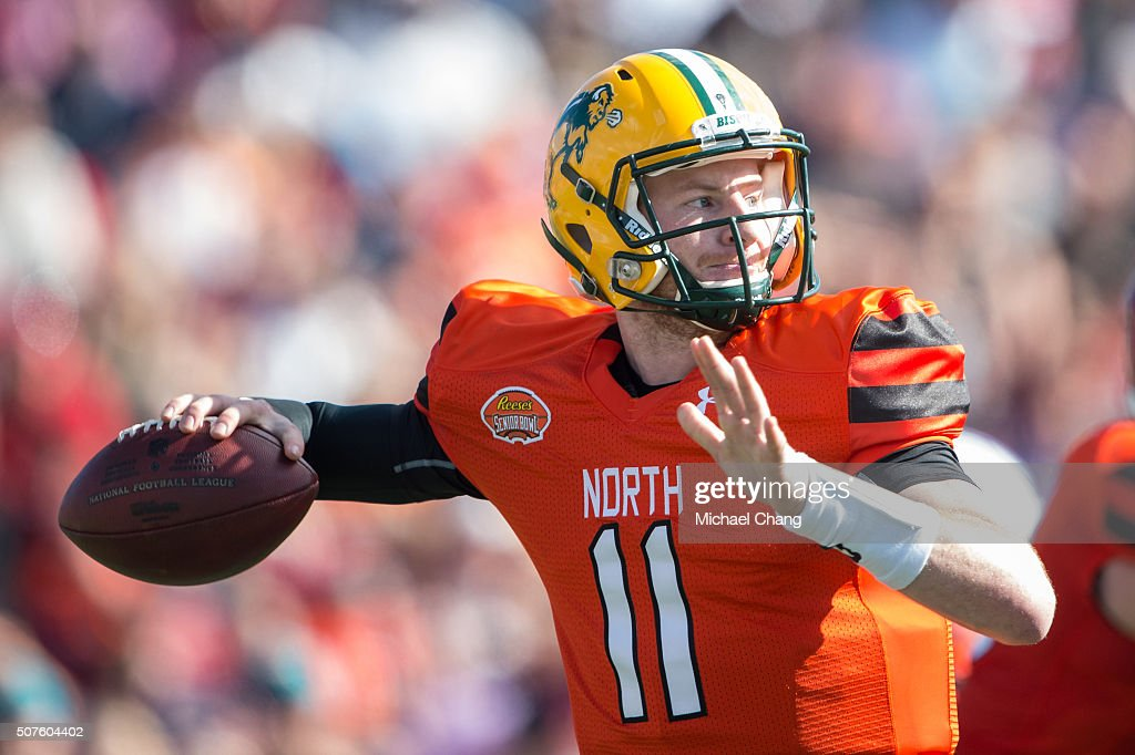 North team's quarterback Carson Wentz with North Dakota State looks to throw a pass during their game against the South Team on January 30 2016 at...
