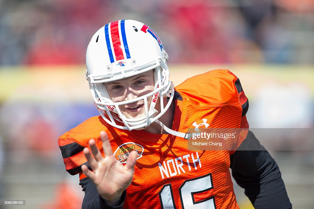 North team's quarterback <a gi-track='captionPersonalityLinkClicked' href=/galleries/search?phrase=Jeff+Driskel&family=editorial&specificpeople=7639913 ng-click='$event.stopPropagation()'>Jeff Driskel</a> #16 with Louisiana Tech on January 30, 2016 at Ladd-Peebles Stadium in Mobile, Alabama.