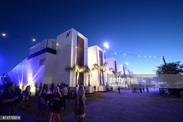 North tower elevators and music fans are seen during Desert Trip at The Empire Polo Club on October 14 2016 in Indio California