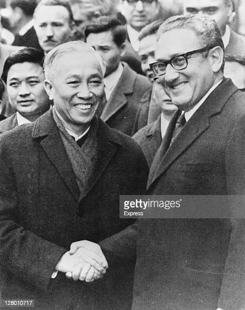 North Vietnamese Politburo Member Le Duc Tho with US National Security Advisor Henry Kissinger during peace talks on the Vietnam War Paris 24th...
