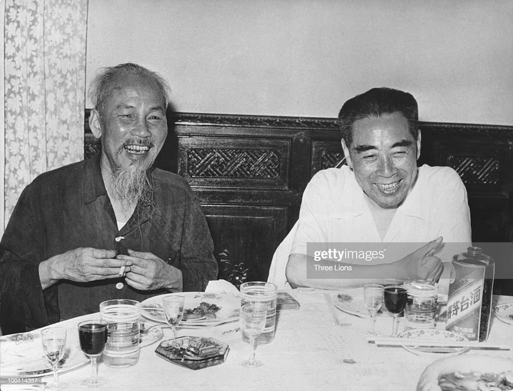 North Vietnamese President and communist revolutionary leader Ho Chi Minh with Prime Minister of the People's Republic of China Zhou Enlai during a...