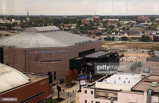 North view of the BMO Harris Bradley Center home of the Milwaukee Bucks basketball team from the Polaris Revolving Rooftop Restaurant in the Hyatt...