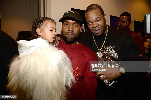 North West Kanye West and Busta Rhymes attend Kanye West Yeezy Season 3 at Madison Square Garden on February 11 2016 in New York City