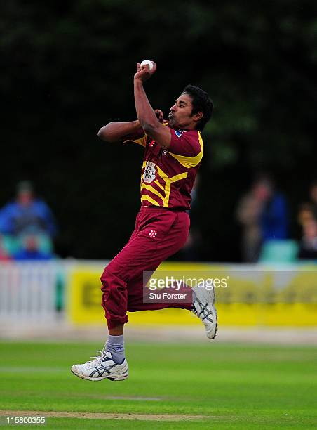 Northampton bowler Chaminda Vaas in action during the Friends Life T20 game between Worcestershire and Northamptonshire at New Road on June 10 2011...