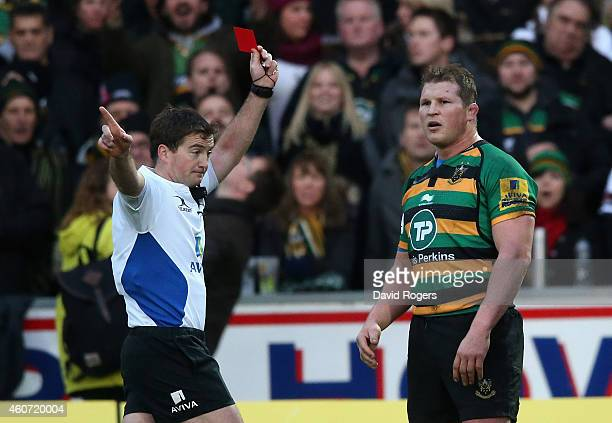 Northampton captain Dylan Hartley is shown the red card and sent off by referee JP Doyle during the Aviva Premiership match between Northampton...