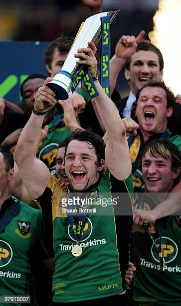 Northampton captain Phil Dowson lifts the trophy at the end of the LV Anglo Welsh Cup Final between Gloucester and Northampton Saints at Sixways...