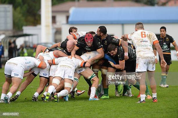 Northampton Saints and Benetton Treviso players in scram during the European Rugby Champions Cup Match between Benetton Treviso and Northampton...