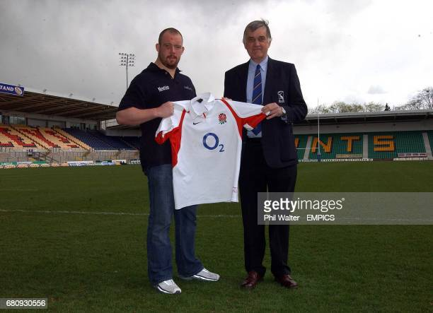 Northampton Saints and former Hertford player Robbie Morris gives his England shirt to John Atkinson of Hertford RFC