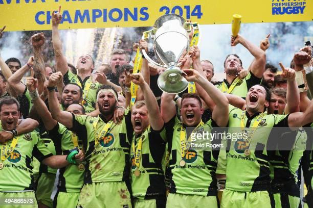 Northampton Saints celebrate after winning the Aviva Premiership Final between Saracens and Northampton Saints at Twickenham Stadium on May 31 2014...