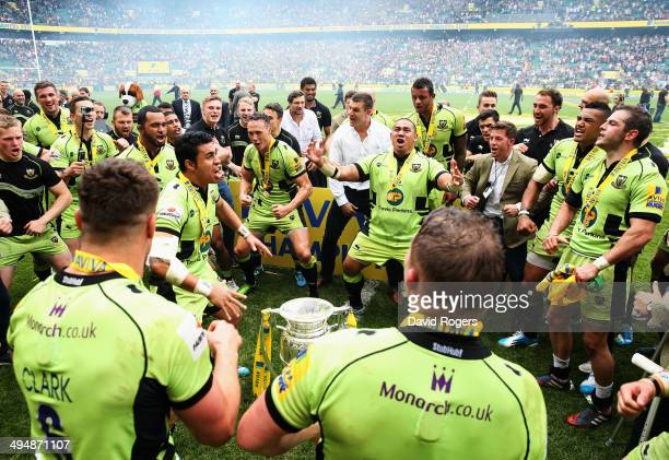 Northampton Saints celebrate by doing the haka after winning the Aviva Premiership Final between Saracens and Northampton Saints at Twickenham...