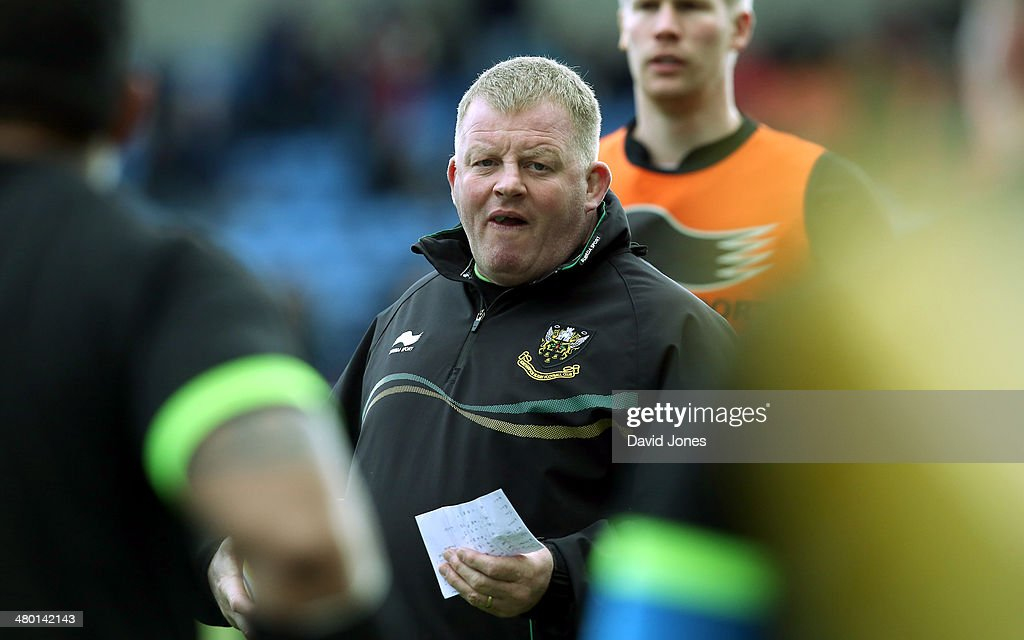 Northampton Saints coach Dorian West before the Aviva Premiership match between Sale Sharks and Northampton Saints at A J Bell Stadium on March 22, 2014 in Salford, England