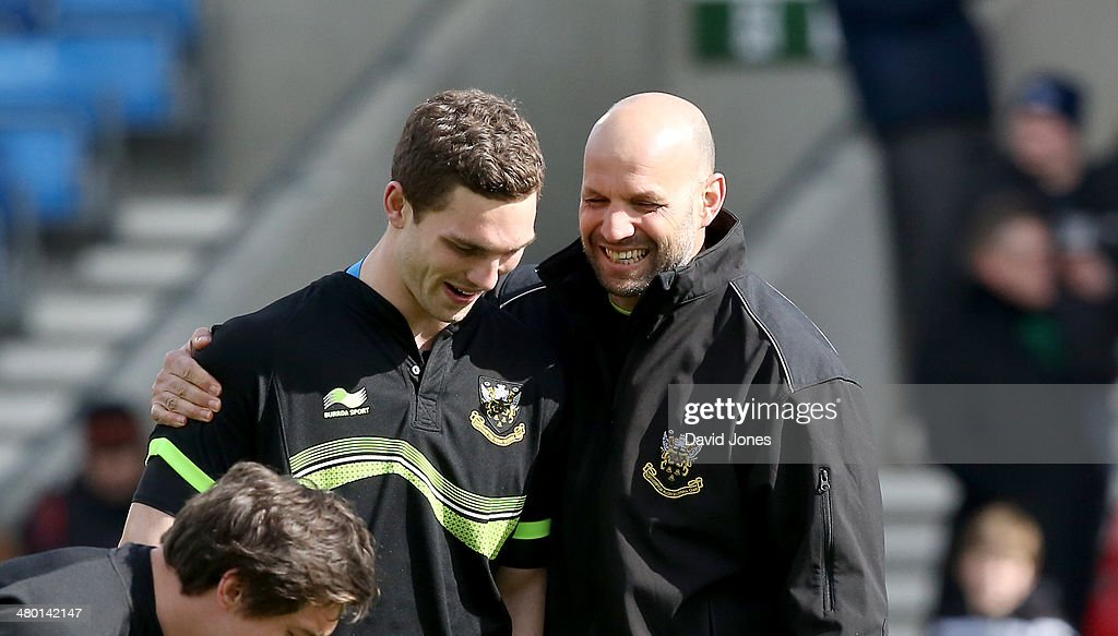 Northampton Saints Director of Rugby Jim Mallinder with wing threequarter George North before the Aviva Premiership match between Sale Sharks and Northampton Saints at A J Bell Stadium on March 22, 2014 in Salford, England
