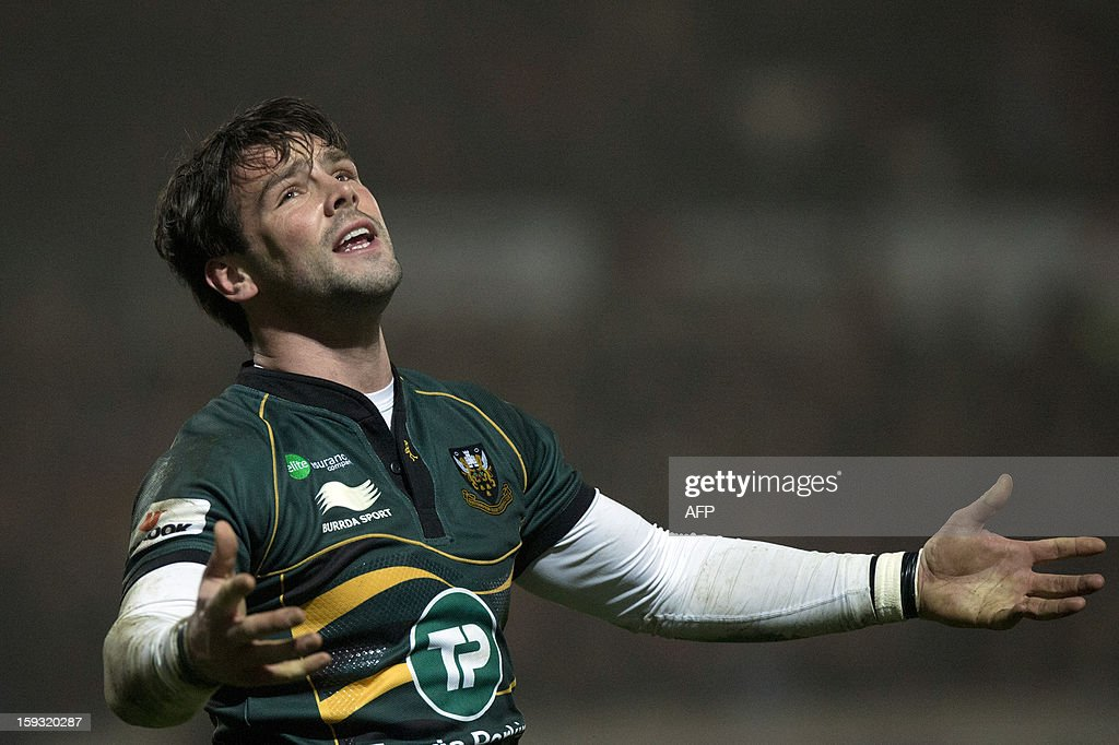 Northampton Saints' English full-back Ben Foden reacts during the European Cup rugby union match between Northampton Saints and Castres Olympique at Franklin's Gardens in Northampton, England on January 11, 2013.