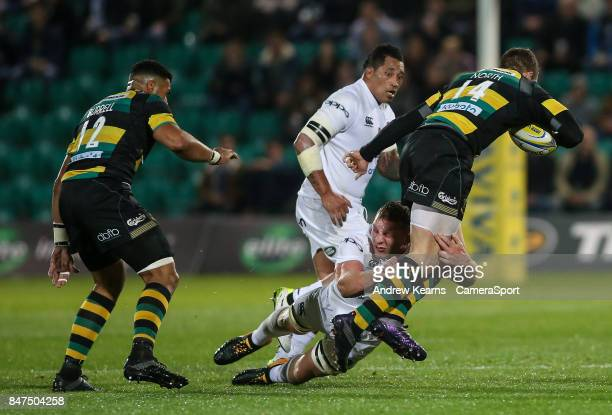 Northampton Saints' George North is tackled by Bath Rugby's Sam Underhill during the Aviva Premiership match between Northampton Saints and Bath...