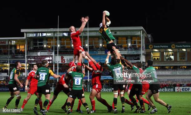 Northampton Saints' Ignacio Fernandez Lobbe collects the ball as the Northampton and Muster players contest a lineout during the Heineken Cup first...