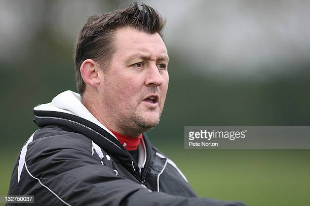 Northampton Town caretaker manager David Lee looks on during a training session at Moulton College on November 14 2011 in Northampton England