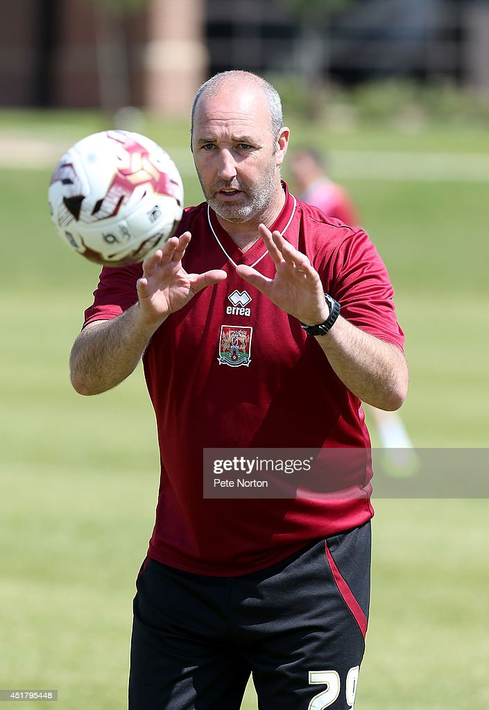 Northampton Town goalkeeper coach Carl Muggleton in action during a training session at Moulton College on July 1, 2014 in Northampton, United Kingdom.