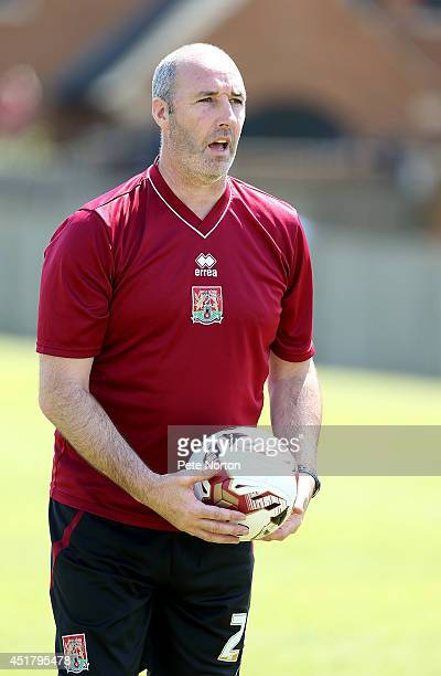 Northampton Town goalkeeper coach Carl Muggleton in action during a training session at Moulton College on July 1 2014 in Northampton United Kingdom