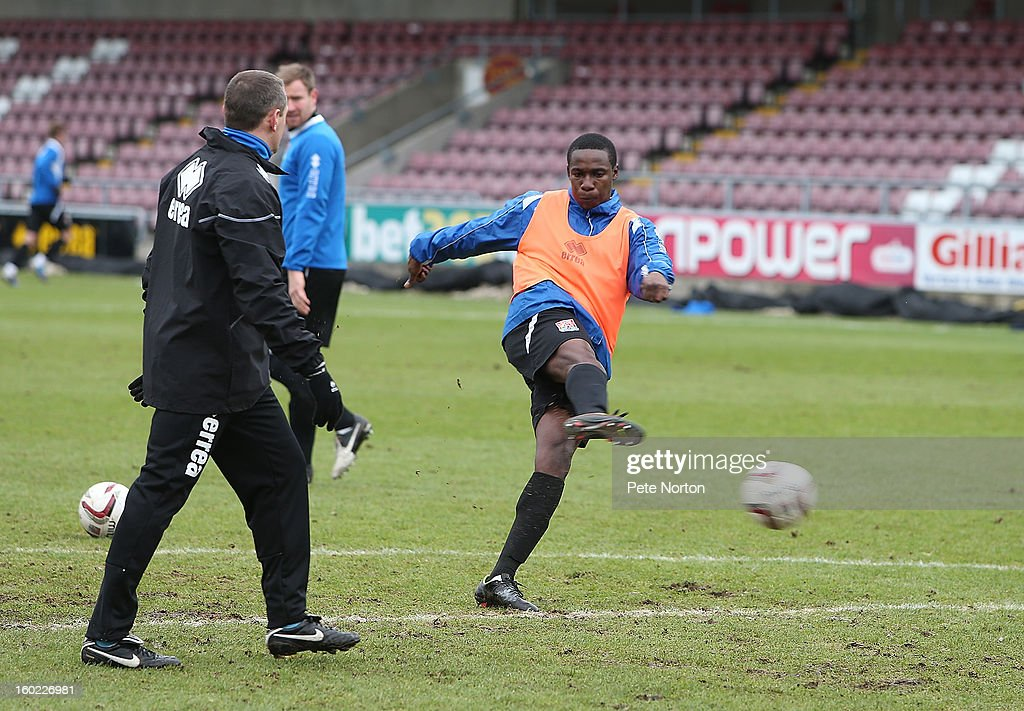 Northampton Town loan signing Emmanuel Oyeleke in action during a training session at Sixfields Stadium on January 28, 2013 in Northampton, England.