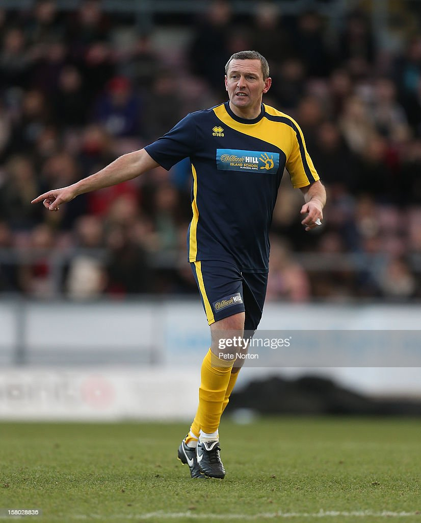 Northampton Town manager Aidy Boothroyd in action during the William Hill Foundation Cup Celebrity Charity Challenge Match at Sixfields on December 9, 2012 in Northampton, England.