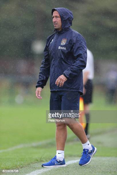 Northampton Town manager Justin Edinburgh looks on during the PreSeason Friendly match between Kettering Town and Northampton Town at the Dog Duck on...
