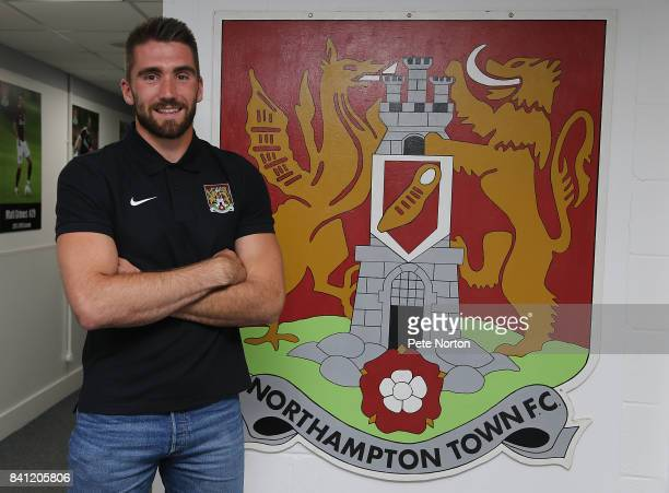 Northampton Town new signing Matt Ingram poses during a photo call at Sixfields on August 31 2017 in Northampton England