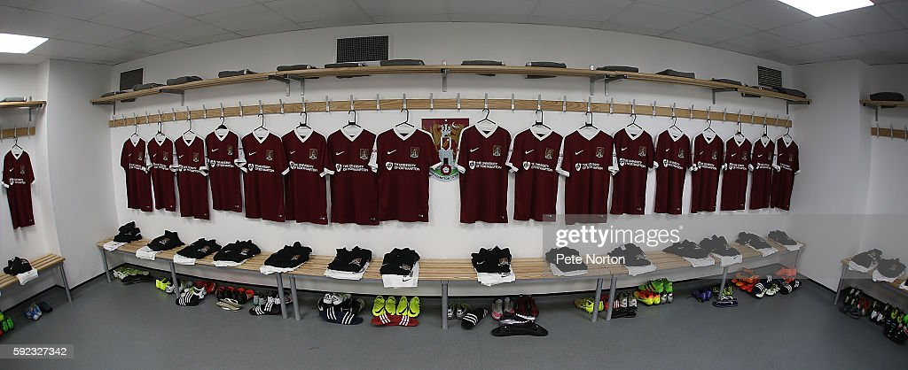 Northampton Town shirts are seen in the dressing room prior to the Sky Bet League One match between Northampton Town and AFC Wimbledon at Sixfields...