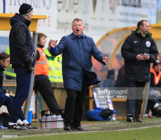 Northampton Town's manager Chris Wilder gestures on the touchline against Mansfield Town