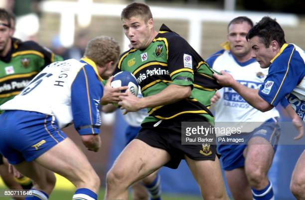 Northamptons Ben Cohen battles through the Leeds Tykes defence during the Rugby Union Zurich Premiership game between Leeds and Northampton at...