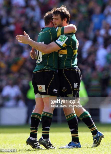 Northampton's Ben Foden celebrates their victory over Ulster with Paul Diggin at the final whistle of the Heineken Cup Quarter Final at Stadiummk...