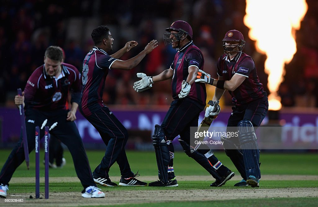 Northamptonshire batsmen Rory Kleinveldt and Rob Keogh celebrates with teammates after winning the NatWest t20 Blast Final between Northamptonshire...