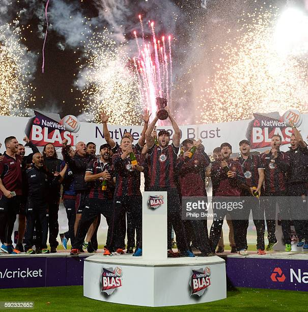 Northamptonshire celebrate after winning the Natwest T20 Blast final between Northamptonshire and Durham at Edgbaston cricket ground on August 20...