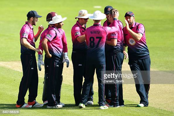 Northamptonshire celebrate the dismissal of Adam Lyth of Yrokshire for 125 during the Royal London OneDay Cup match between Yorkshire and...