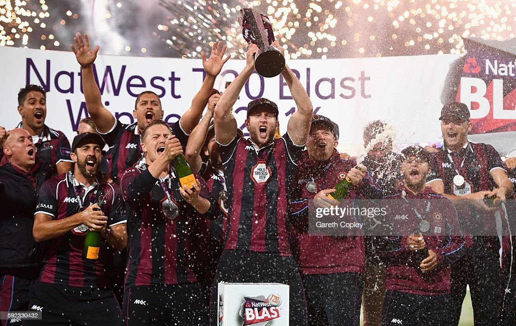 Northamptonshire lift the trophy after winning NatWest t20 Blast Final between Northamptonshire and Durham at Edgbaston on August 20 2016 in...