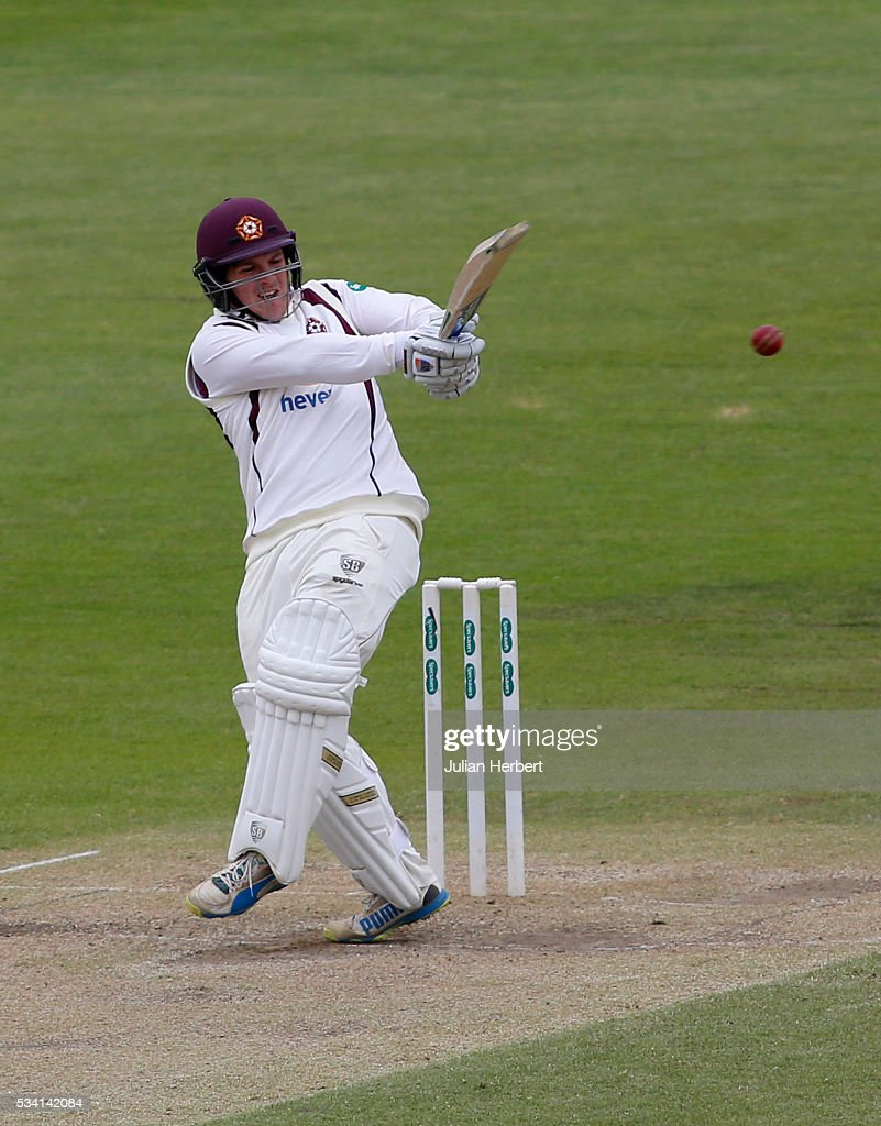 Northamptonshire's Rob Newton hits out during day four of the Specsavers Division Two match between Gloucestershire and Northamptonshire at The County Ground on May 25, 2016 in Bristol, England.