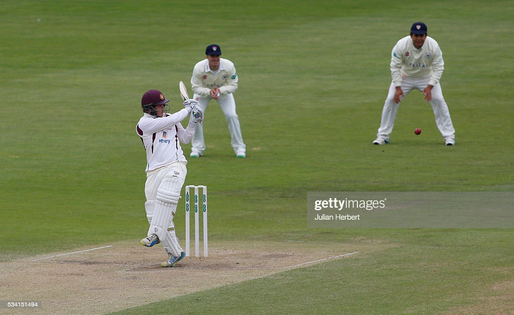 Northamptonshire's Rob Newton hits to the boundary during day four of the Specsavers Division Two match between Gloucestershire and Northamptonshire at The County Ground on May 25, 2016 in Bristol, England.