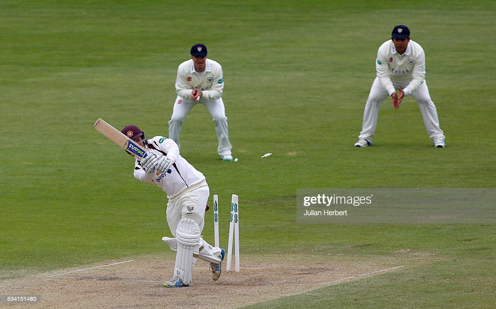 Northamptonshire's Rob Newton is bowled out during day four of the Specsavers Division Two match between Gloucestershire and Northamptonshire at The County Ground on May 25, 2016 in Bristol, England.