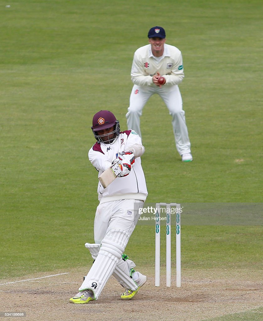 Northamptonshire's Seekkuce Prasanna hits out during day four of the Specsavers Division Two match between Gloucestershire and Northamptonshire at The County Ground on May 25, 2016 in Bristol, England.