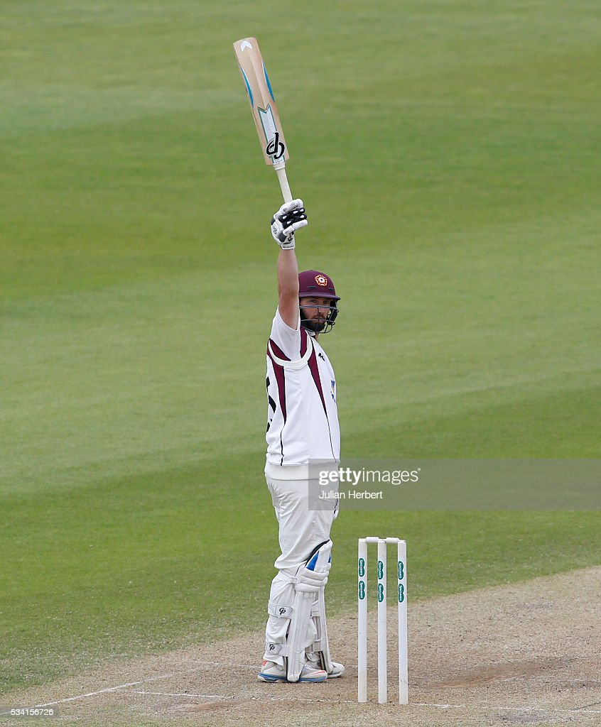 Northamptonshire's Steven Crook acknowledges his half century during day four of the Specsavers Division Two match between Gloucestershire and Northamptonshire at The County Ground on May 25, 2016 in Bristol, England.