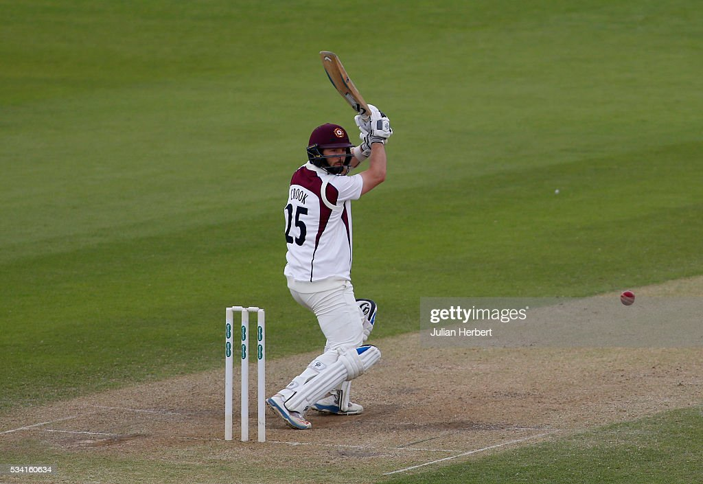 Northamptonshire's Steven Crook hits out during day four of the Specsavers Division Two match between Gloucestershire and Northamptonshire at The County Ground on May 25, 2016 in Bristol, England.