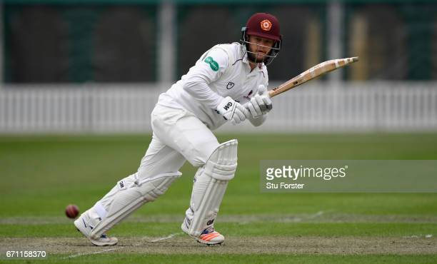 Northants batsman Ben Duckett hits out during day one of the Specsavers County Championship Division Two at New Road on April 21 2017 in Worcester...