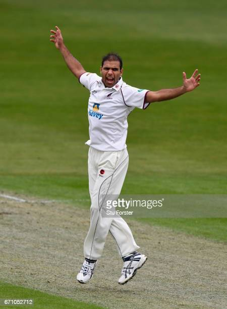 Northants bowler Muhammad Azhar Ullah appeals for an lbw during day one of thr Specsavers County Championship Division Two at New Road on April 21...