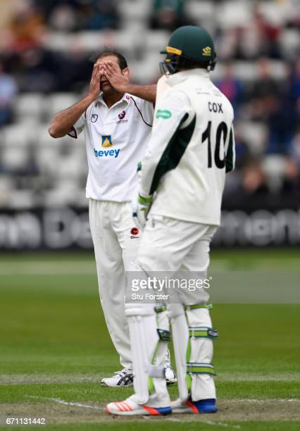 Northants bowler Muhammad Azhar Ullah reacts during day one of the Specsavers County Championship Division Two at New Road on April 21 2017 in...