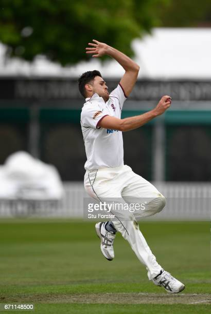 Northants bowler Nathan Buck in action during day one of thr Specsavers County Championship Division Two at New Road on April 21 2017 in Worcester...