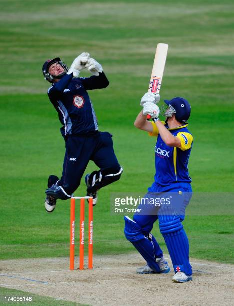 Northants keeper David Murphy takes the ball as Warwickshire batsman Rikki Clarke attempts to pick up some runs during the Friends Life T20 match...