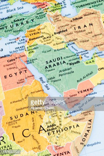 Northeast Africa, Middle East and Persian Gulf regional map