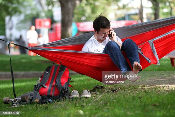 Northeastern University student Andrew Horowitz a fourth year student studying chemical engineering from CT carries a hammock around with him on...